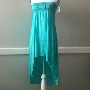 Turquoise Hi-Low Halter Top Sun Dress Made in USA